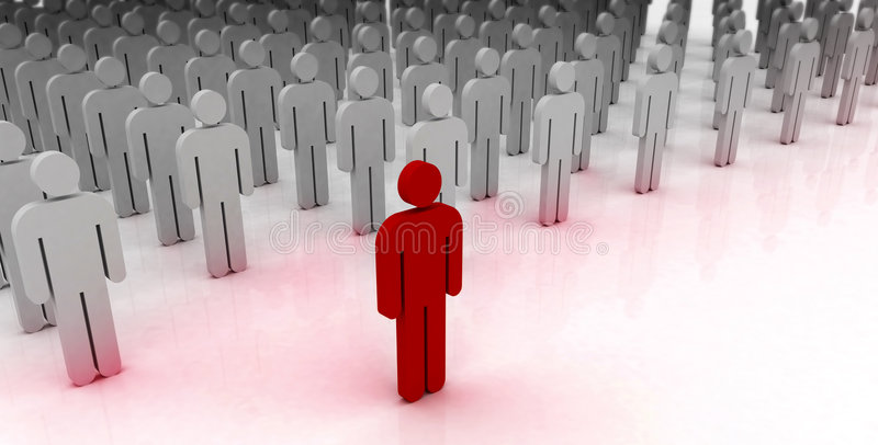 Man standing out from the crowd. Unique, special man standing out from the crowd of regular man vector illustration