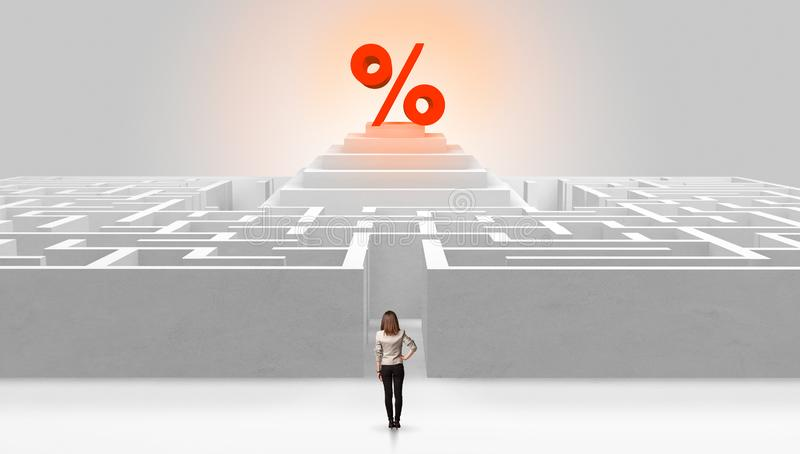 Man standing outside of a maze with profit concept on the middle royalty free stock photography