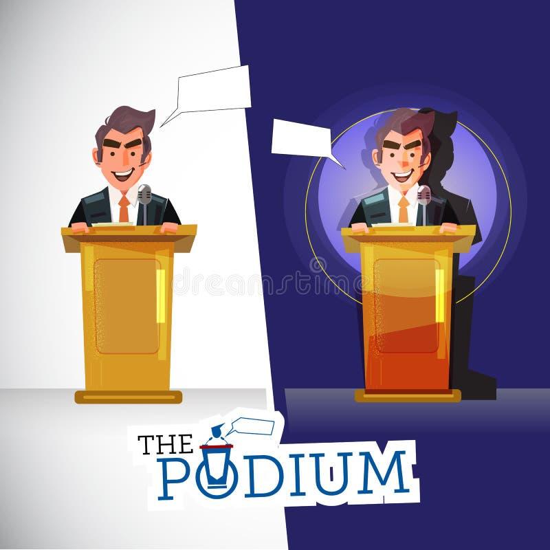 Man standing on a podium in light room. speaking in darkroom under spotlights. character design. public speech concept - il royalty free illustration