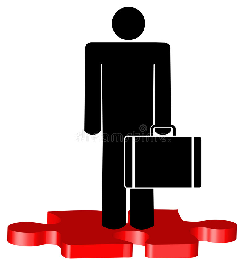 Man standing on puzzle piece