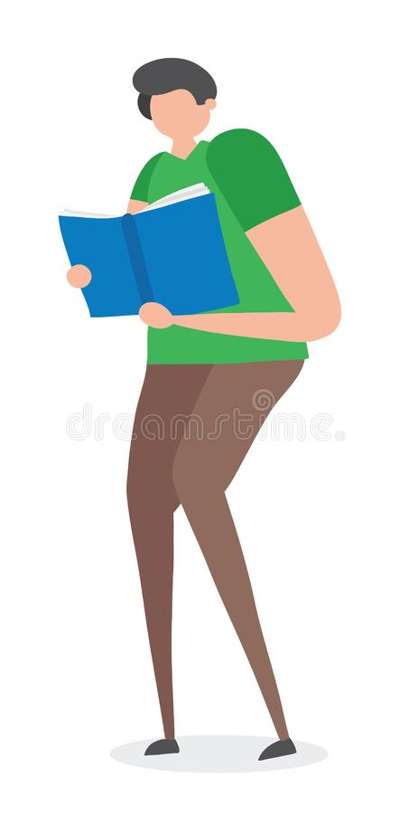Man standing and reading book, hand-drawn vector illustration vector illustration