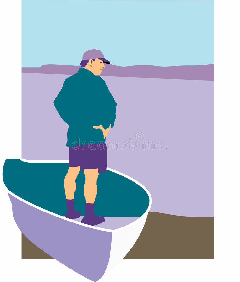 Download Man standing in rowboat stock vector. Illustration of illustration - 7411942