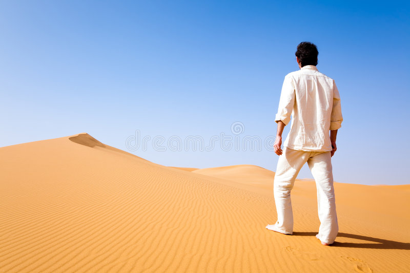 Download Man Standing On A Sand Dune Stock Image - Image: 8740557