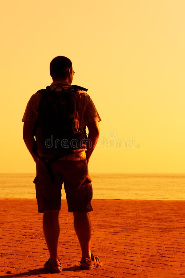 Man, Standing, Sea, Sky royalty free stock images