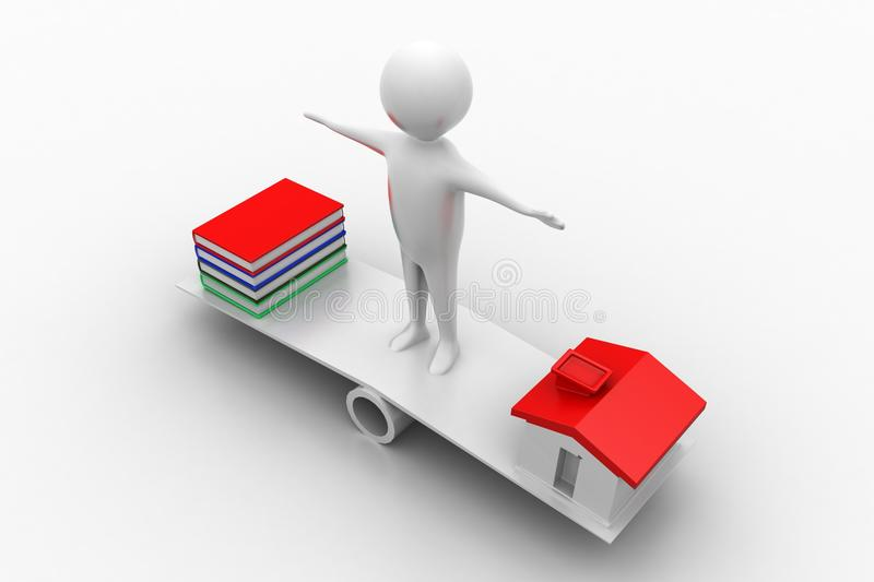 Download Man Standing In See Saw With Books And Houses Stock Illustration - Illustration: 39743916