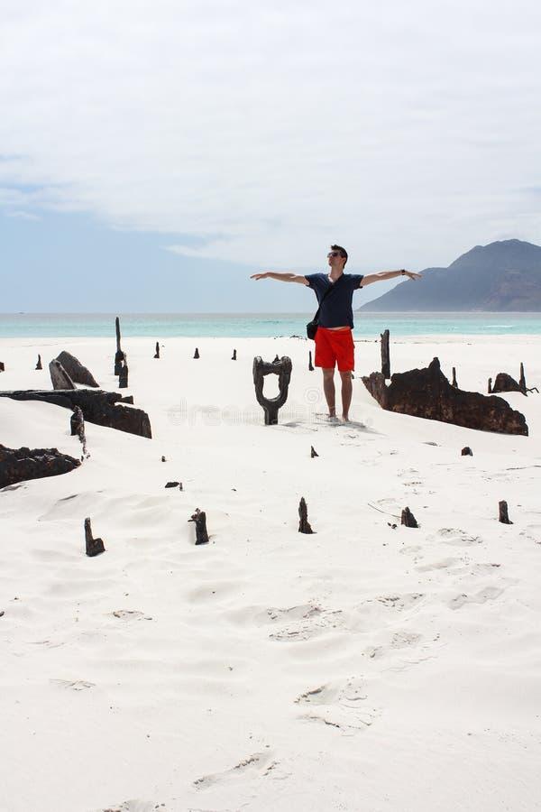 Man standing at Shipwreck Kakapo royalty free stock image