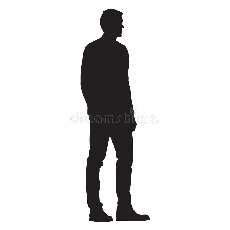 Free Man Standing, Side View, Isolated Silhouette Royalty Free Stock Photos - 97946938