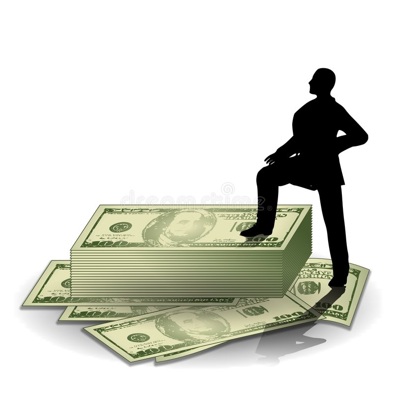 Man Standing on Stack of Money stock illustration