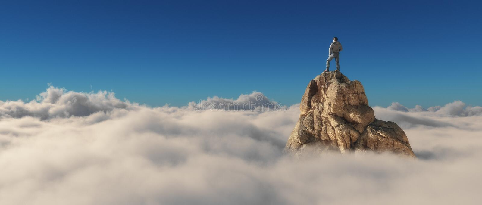 A man standing on a stone cliff. Over the clouds .Success concept. This is a 3d render illustration vector illustration