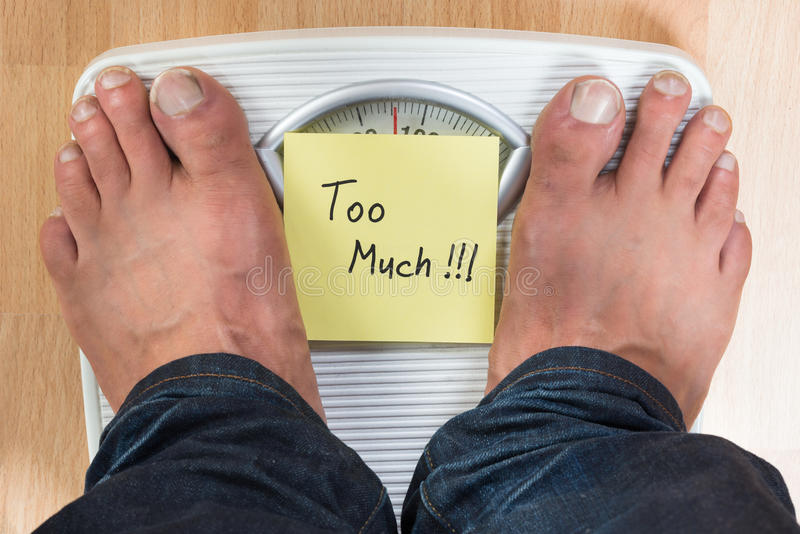 Man Standing On Weight Scale royalty free stock images