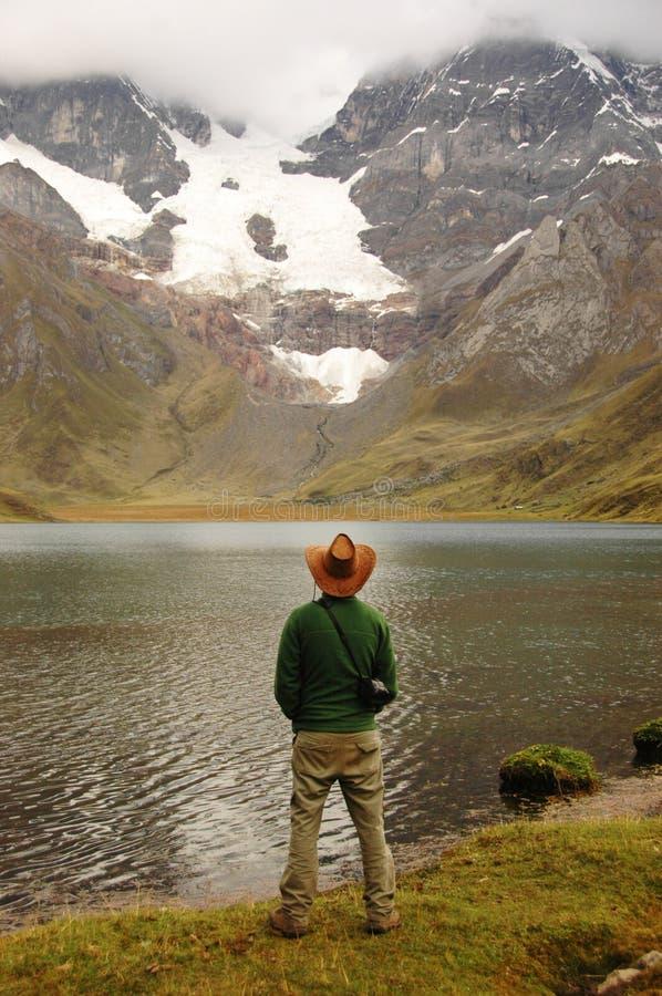 Man Standing in Wild Nature stock photo