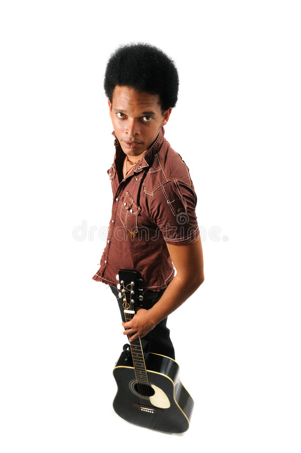 Free Man Standing With Guitar Stock Photo - 6130620