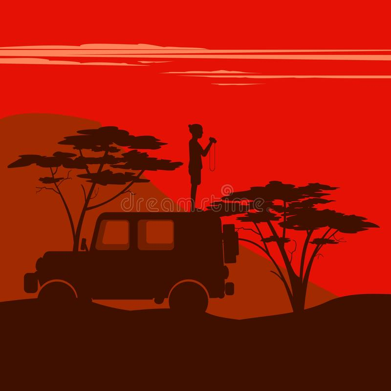 Man stands in a car. On the background of the African savannah stock illustration