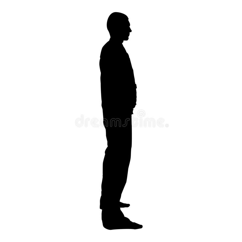 Man stands dressed in work clothes overalls and looks straight icon black color vector illustration flat style image stock illustration