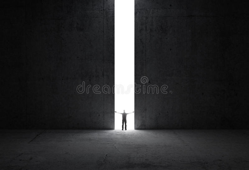 Man stands in the light of the opening vector illustration