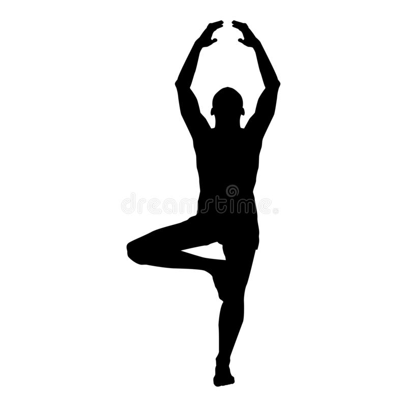Man stands in the lotus position Doing yoga silhouette icon black color illustration. Man stands in the lotus position Doing yoga silhouette icon black color royalty free illustration