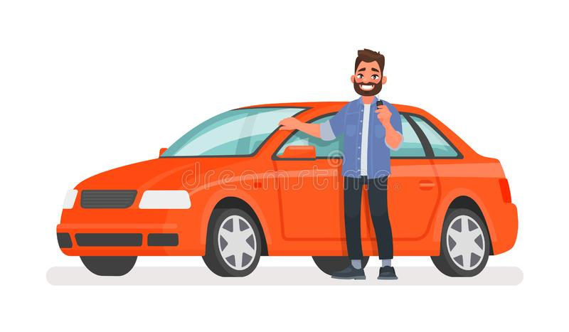 Man stands next to a new car and holds a key in his hand. Happy vehicle owner in white background. Buying a automobile. Vector illustration in cartoon style vector illustration