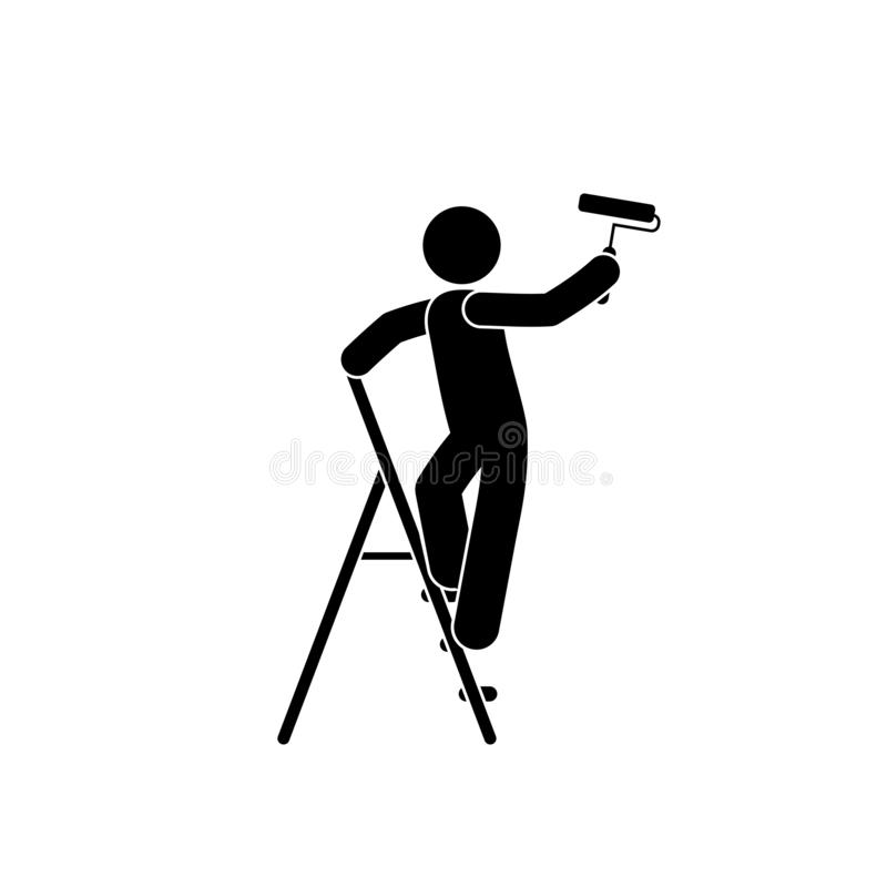 man stands on a stepladder and paints a wall with a roller, sticks figure isolated pictogram vector illustration