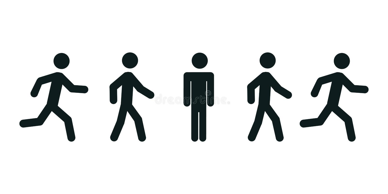 Man stands, walk, run icon set. People sign – vector. Man stands, walk, run icon set. People sign – stock vector royalty free illustration