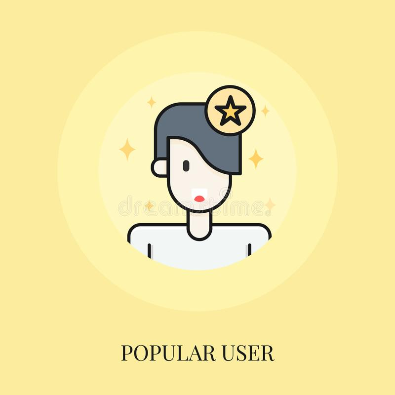 Man and star. Popular person. Flat line icon vector royalty free illustration