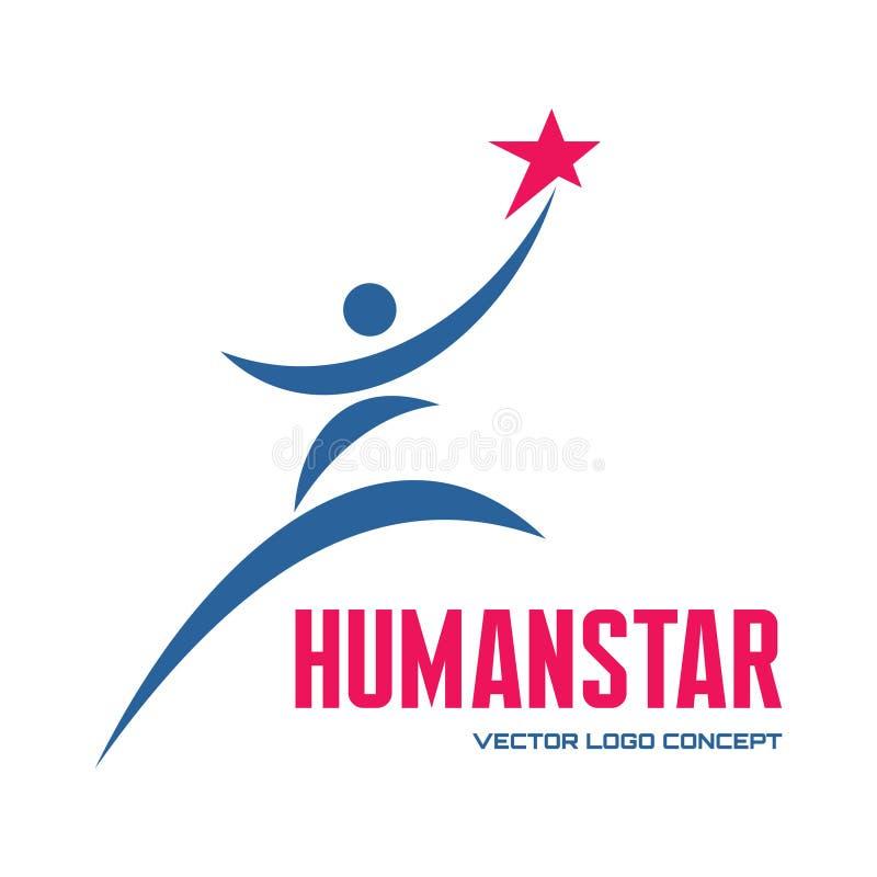 Man star - vector logo template concept illustration for business company, media portal, sport club, creative agency etc. Human. stock illustration