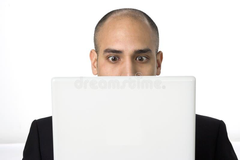 Download Man Stares At His Laptop Screen Stock Image - Image: 7402103