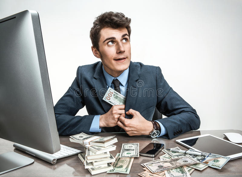 Man steal money from petty cash funds. Accountant steal money from petty cash funds all the time stock photos