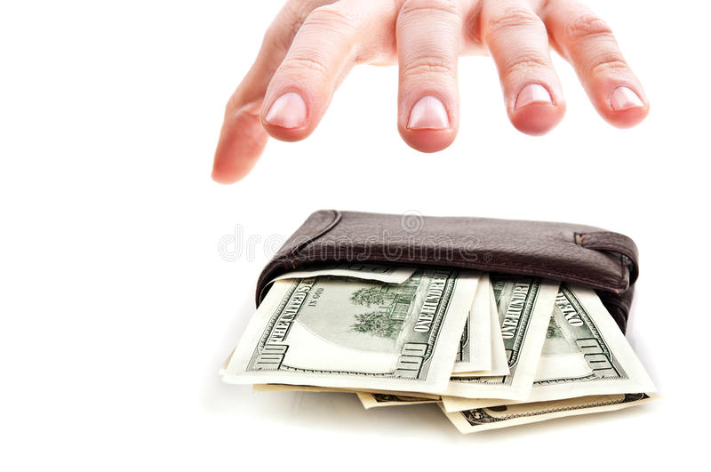 Download Man Steal A Purse With Dollars Stock Photography - Image: 24649982