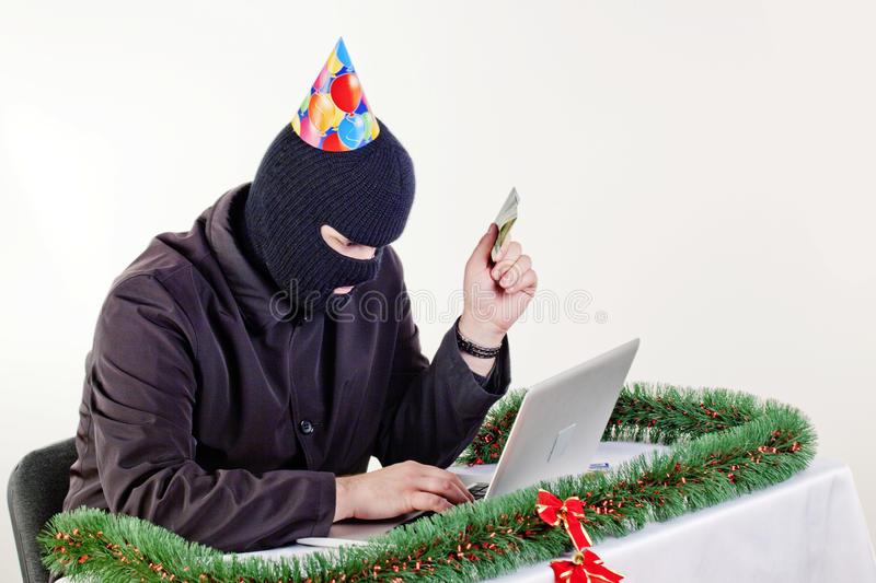 Download Man Stealing Data From A Laptop Stock Image - Image: 12086177