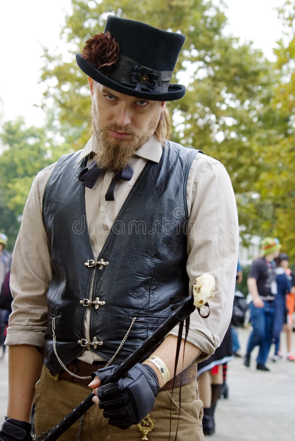 Man in a Steampunk cosplay stock image