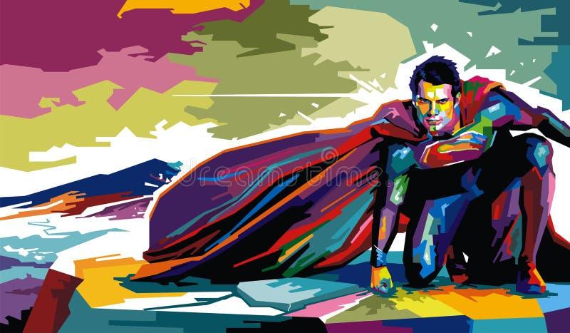 Man of Steel. Illustration of greatest American Superhero