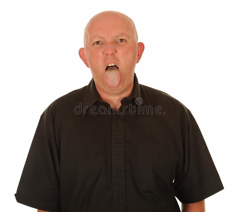 Download Man sticking out tongue stock photo. Image of bald, white - 26364734