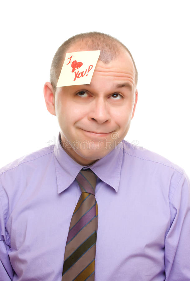 Man with sticky note. Isolated on white royalty free stock images