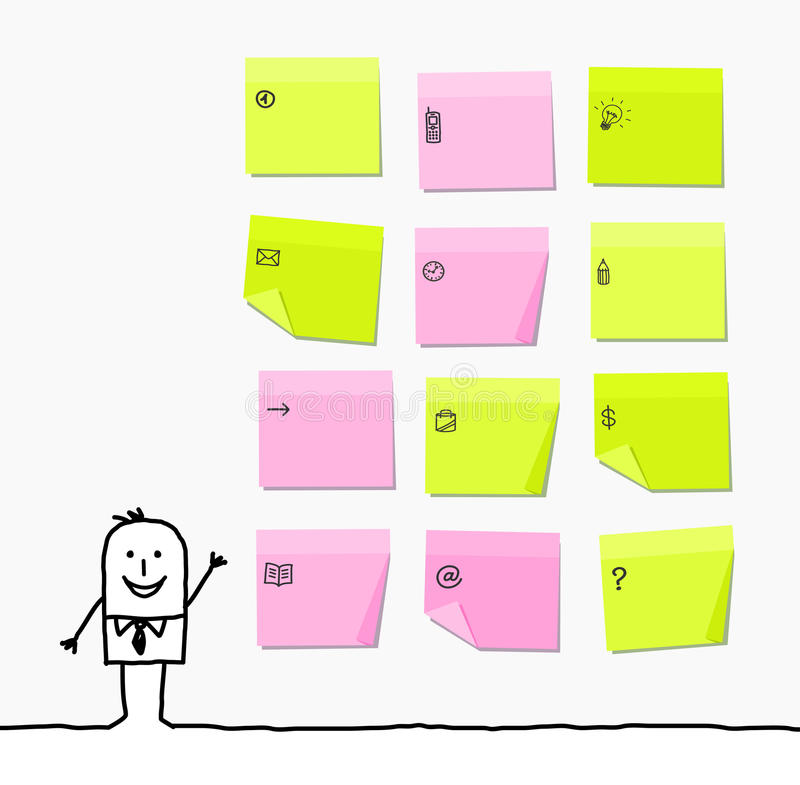 Man & sticky notes. Vector hand-drawn characters line vector illustration