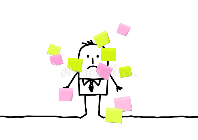 Download Man & sticky notes stock vector. Illustration of drawing - 10014144