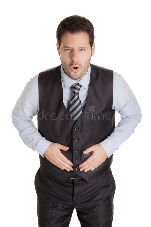 Man with stomach ache isolated on white background stock photos