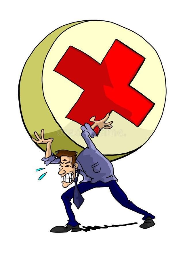 Man straining with giant pill stock illustration