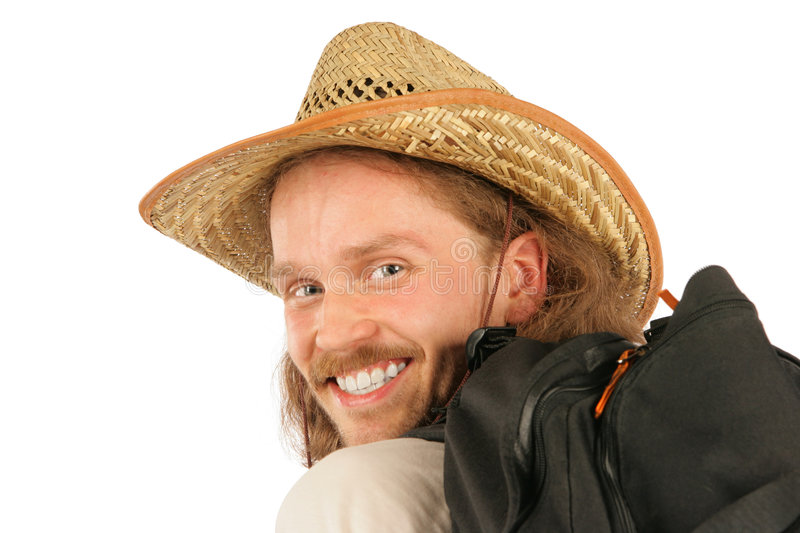 Man with straw hat close-up royalty free stock photo