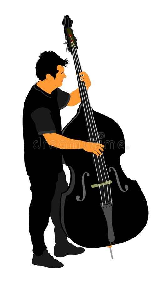 Man on street playing contra-bass . stock illustration