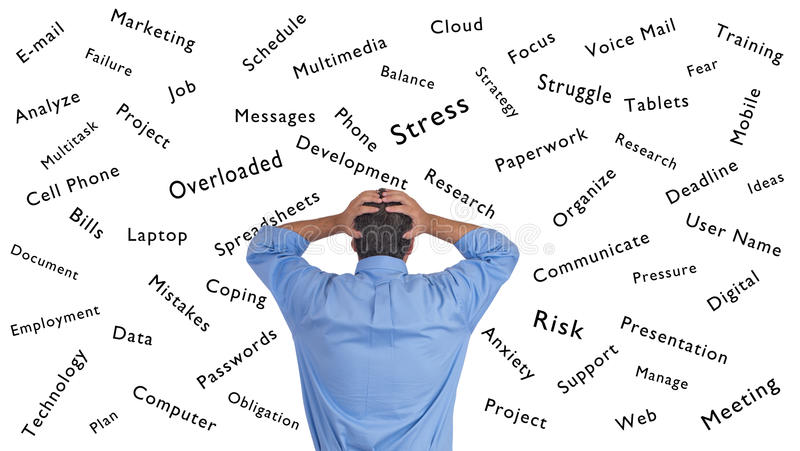 Man Stressed and Confused managing life royalty free stock images