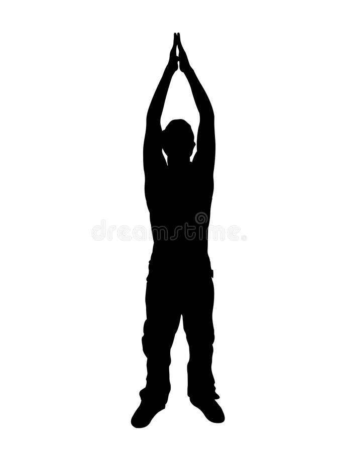 Man stretching his arms vector illustration