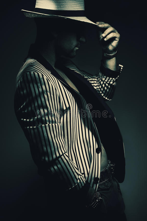 Man in Striped Jacket and Hat royalty free stock images
