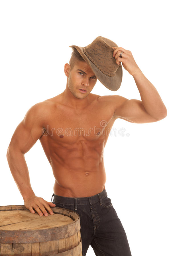 Download Man Strong No Shirt Barrel Putting On Hat Stock Photo - Image of person, poised: 37254704