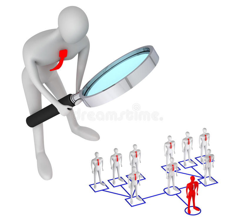 Man in structure of corporate relations. 3d person watching on 3d man in structure of corporate relationship vector illustration