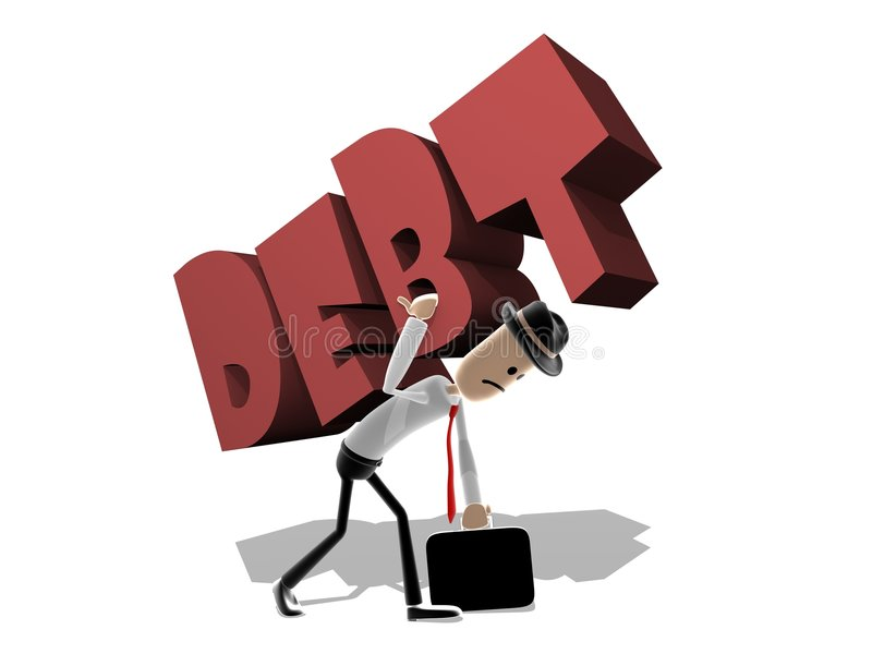 Man struggling with large Debt. Cartoon business style man carrying a large version of the word Debt on his back