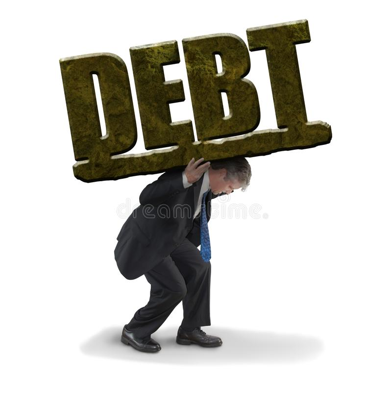Man struggling to carry the burden of a huge stone DEBT representing financial trouble stock photography