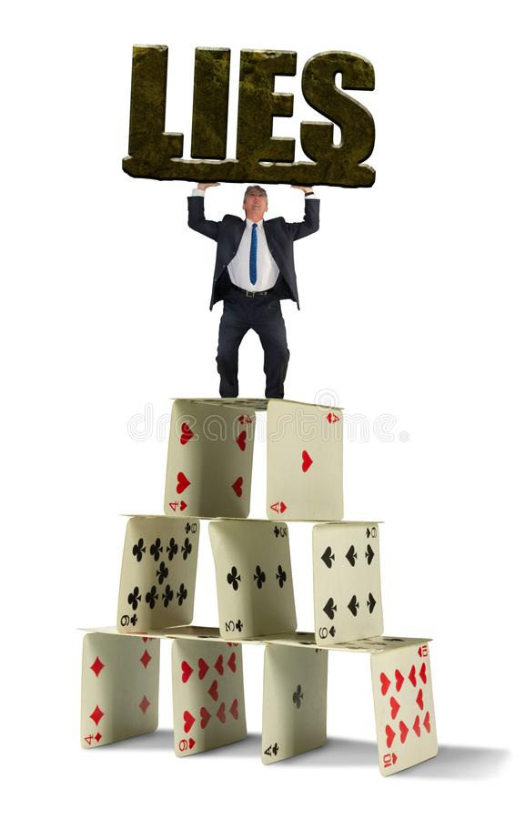 Man struggling to hold up giant stone LIES on shaky house of cards representing the dangerous situation in his web of deceit stock images