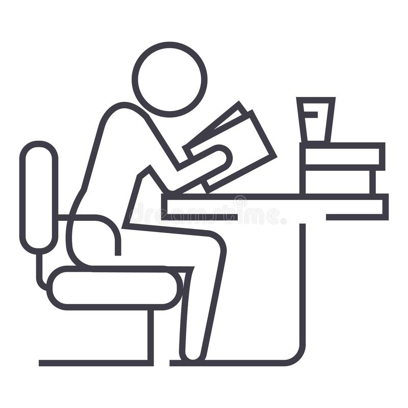 Man studying,reading book in library vector line icon, sign, illustration on background, editable strokes stock illustration