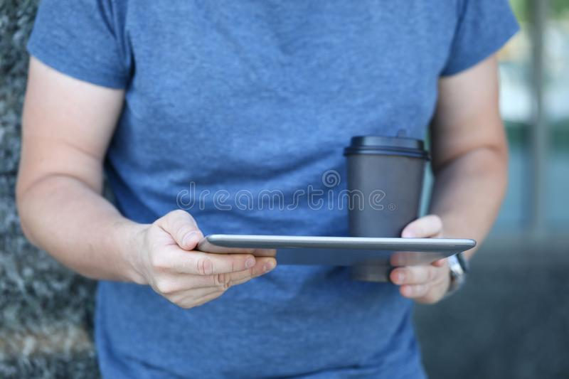 Man with stylish gadget royalty free stock images