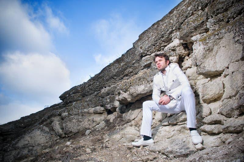 man stylish suit white στοκ φωτογραφίες